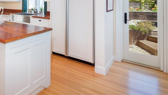 Laminate flooring in a customers kitchen